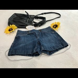 WHBM Blanc Blue Denim Shorts Size 0 VGC!